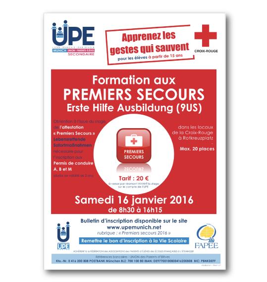 Affiche formation premiers secours 2016